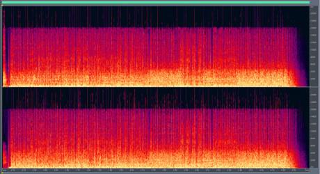 MP3 – 192 kbps Enda mindre informasjon over 16 kHz enn med 320 kbps. Et annet problem som ikke synes i dette bildet, er drop-outs i lavere frekvenser.
