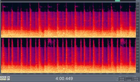 """10 sekunder i 320 KBPS Et 10 sekunders utdrag av sangen """"Baby Loves that Way"""" av David Bowie viser at informasjonen under 16 kHz er godt bevart."""