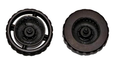 For å få ned vekten har man snudd hver eneste stein. For eksempel er skrollehjulet (t.v.) bare en ramme på fire eiker, sammenlignet med et typisk skrollehjul (t.v.). Foto: Logitech