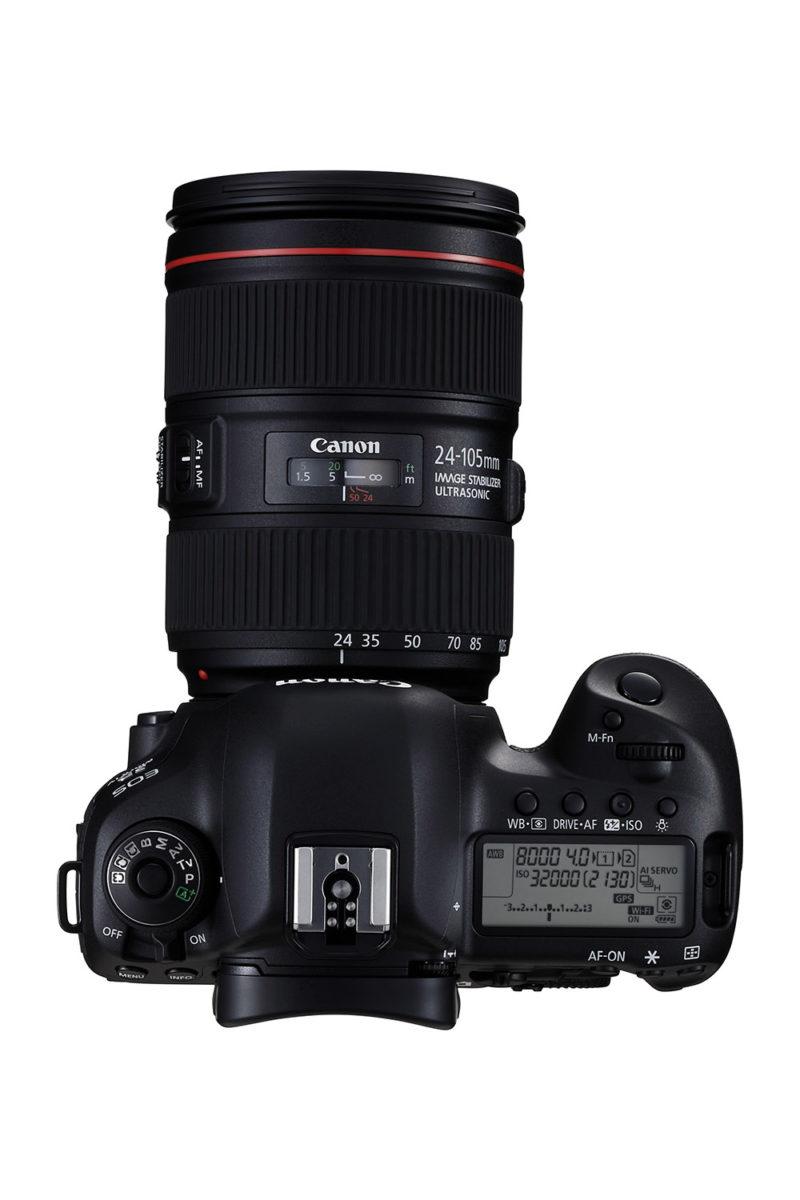 Canon EF 24–105, som är det enda-kit-objektivet, blir 40–170 mm när man filmar 4K-video. Foto: Canon