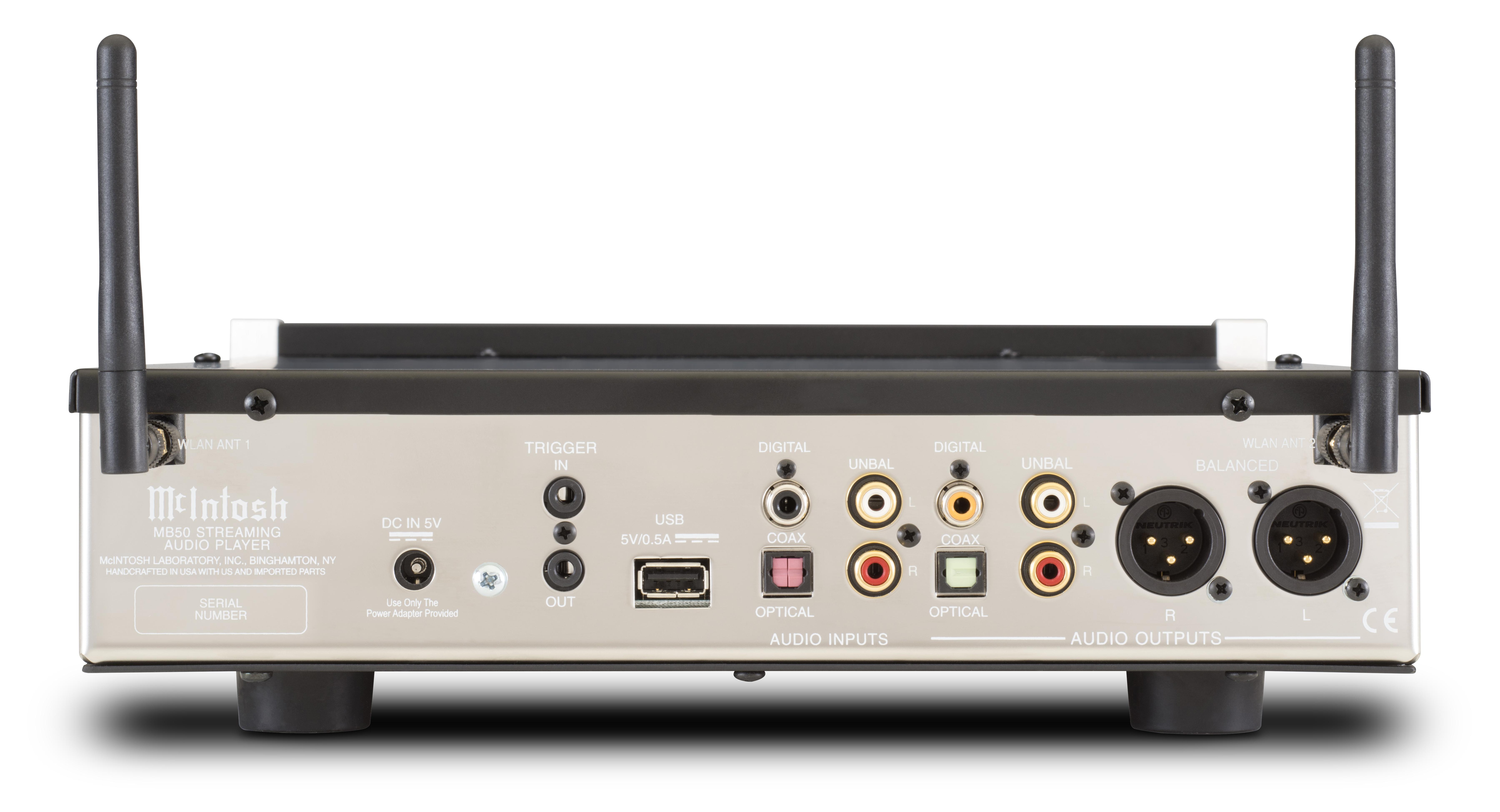 Digitala och analoga in- och utgångar, men USB-porten fungerar inte som ljudingång.  Foto: McIntosh
