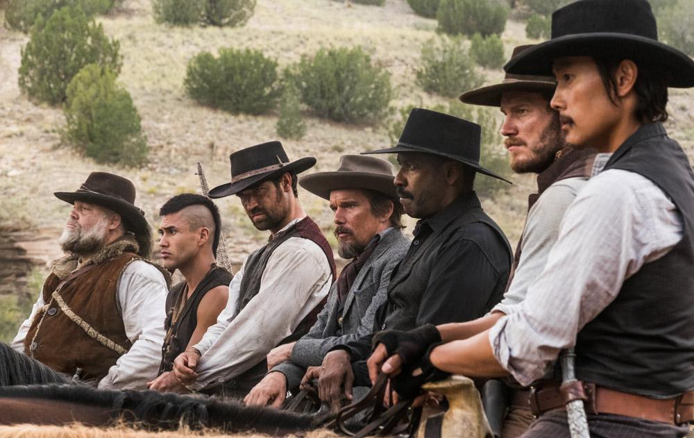 Denzel Washington;Chris Pratt;Ethan Hawke;Manuel Garcia-Rulfo;Vincent D Onofrio;Martin Sensmeier;Byung-hun Lee