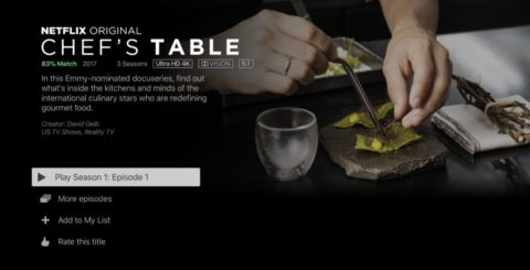 Netflix 4K HDR – Chef's Table