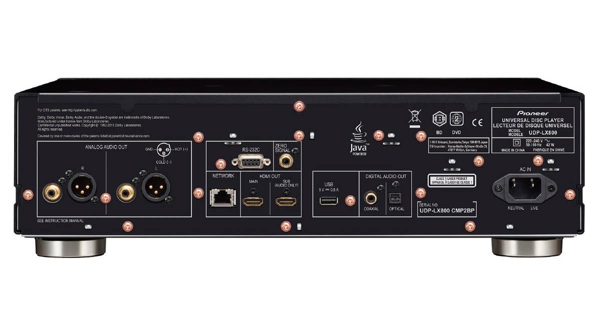 Pioneer UDP-LX800 har en bättre analogutgång än sin lillebror, plus balanserad XLR. Foto: Pioneer