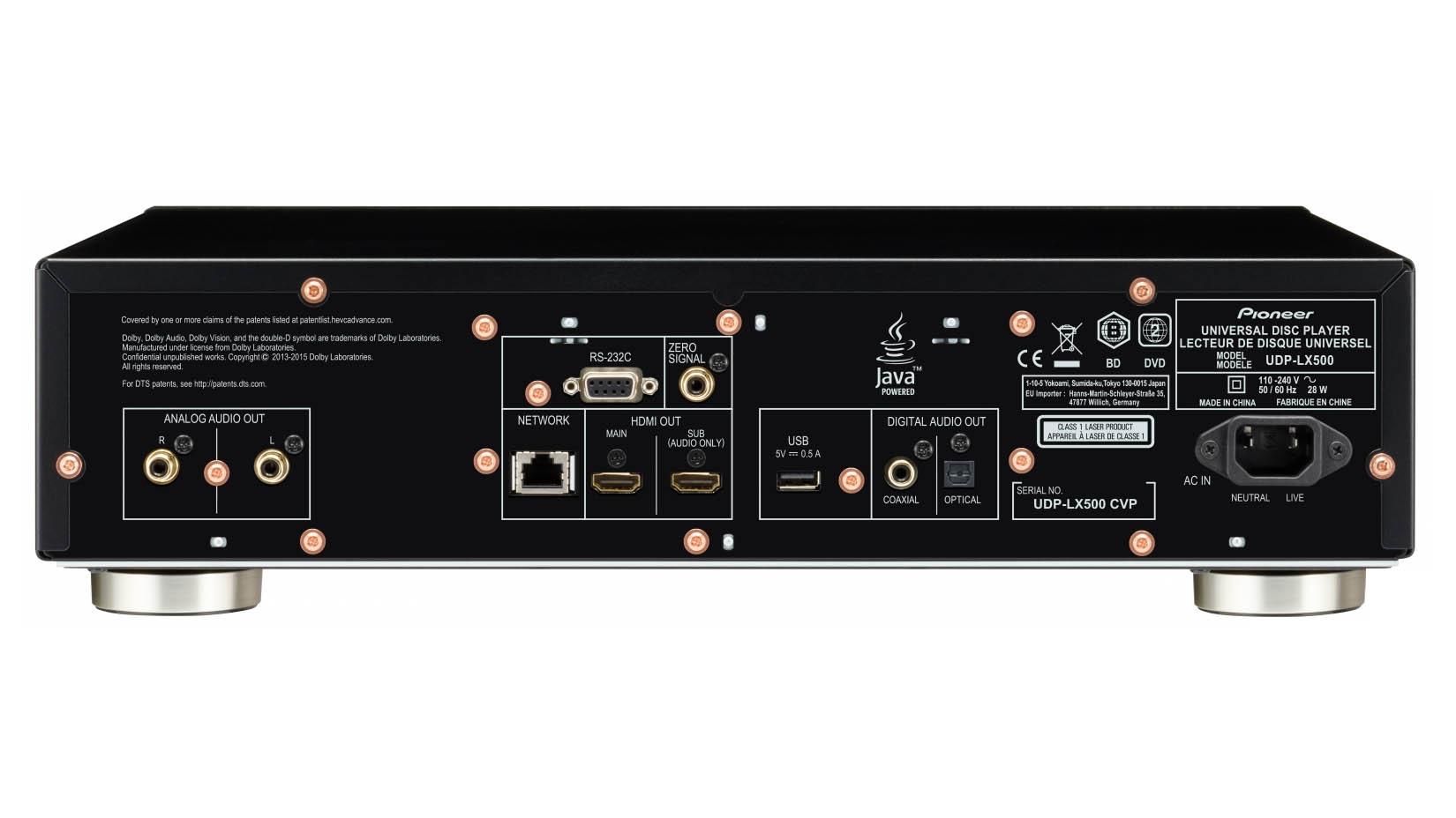 Den analoga utgången i UDP-LX500 håller hög kvalitet. De två HDMI-utgångarna kan dessutom delas upp så att en överför ljudet och den andra bilden. Foto: Pioneer