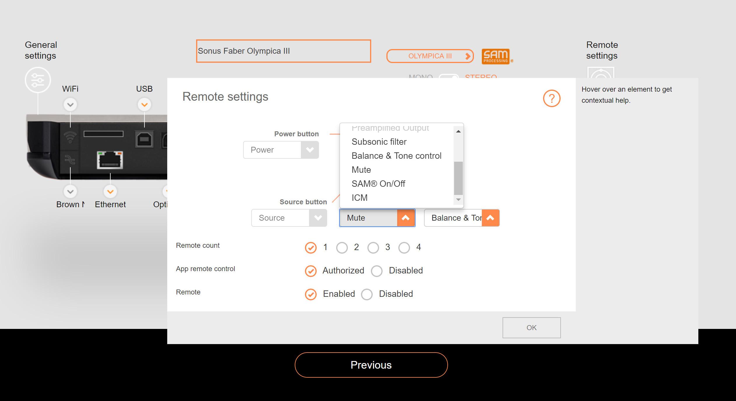 Fra Devialets nettside kan du konfigurere fjernkontrollens funksjoner. Foto: Skjermdump
