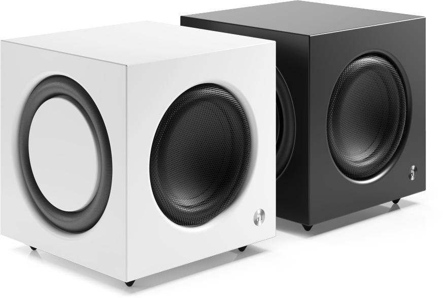 Audio Pro SW-10 kan leveres i svart eller hvit finish. (Foto: Audio Pro)