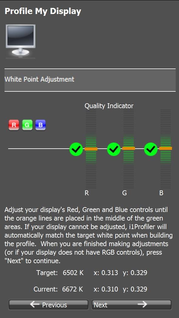 Color D65 white point check i1 Profiler