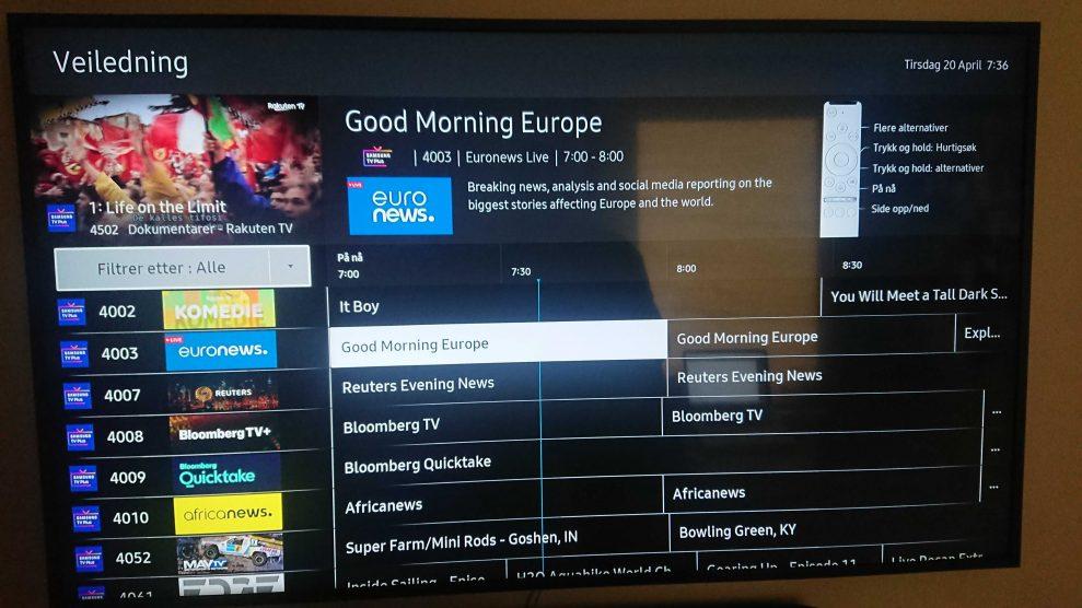 Samsung TV plus TV guide