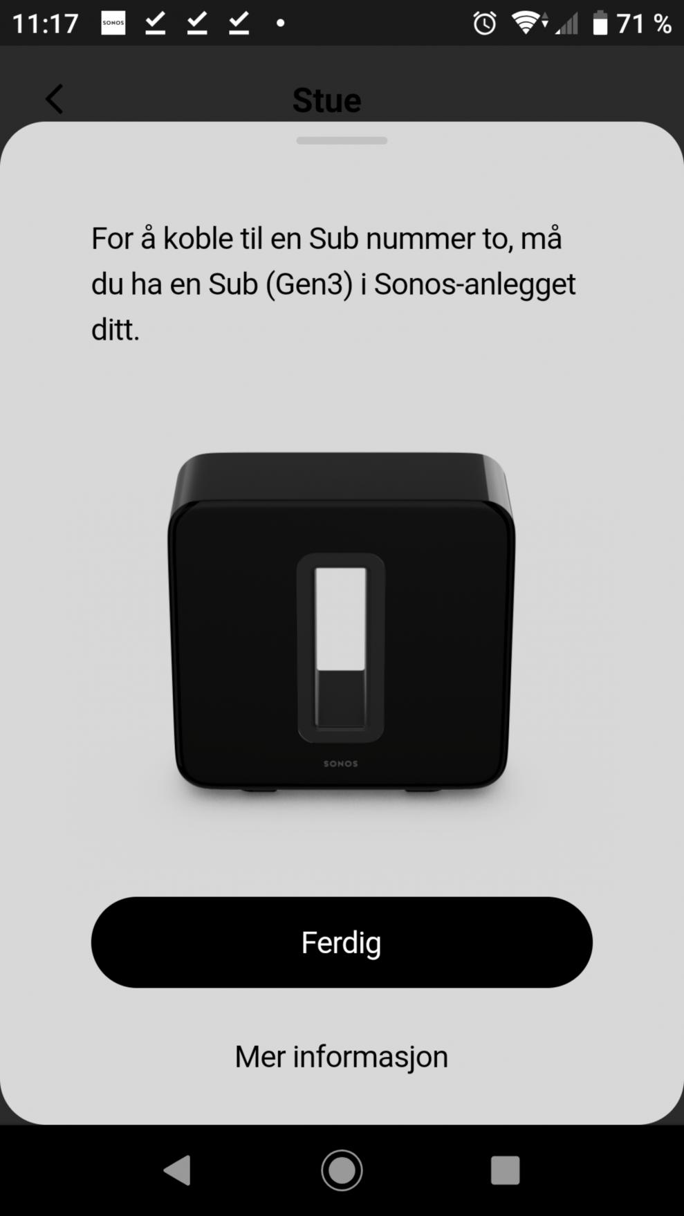 Sonos Sub setup 1
