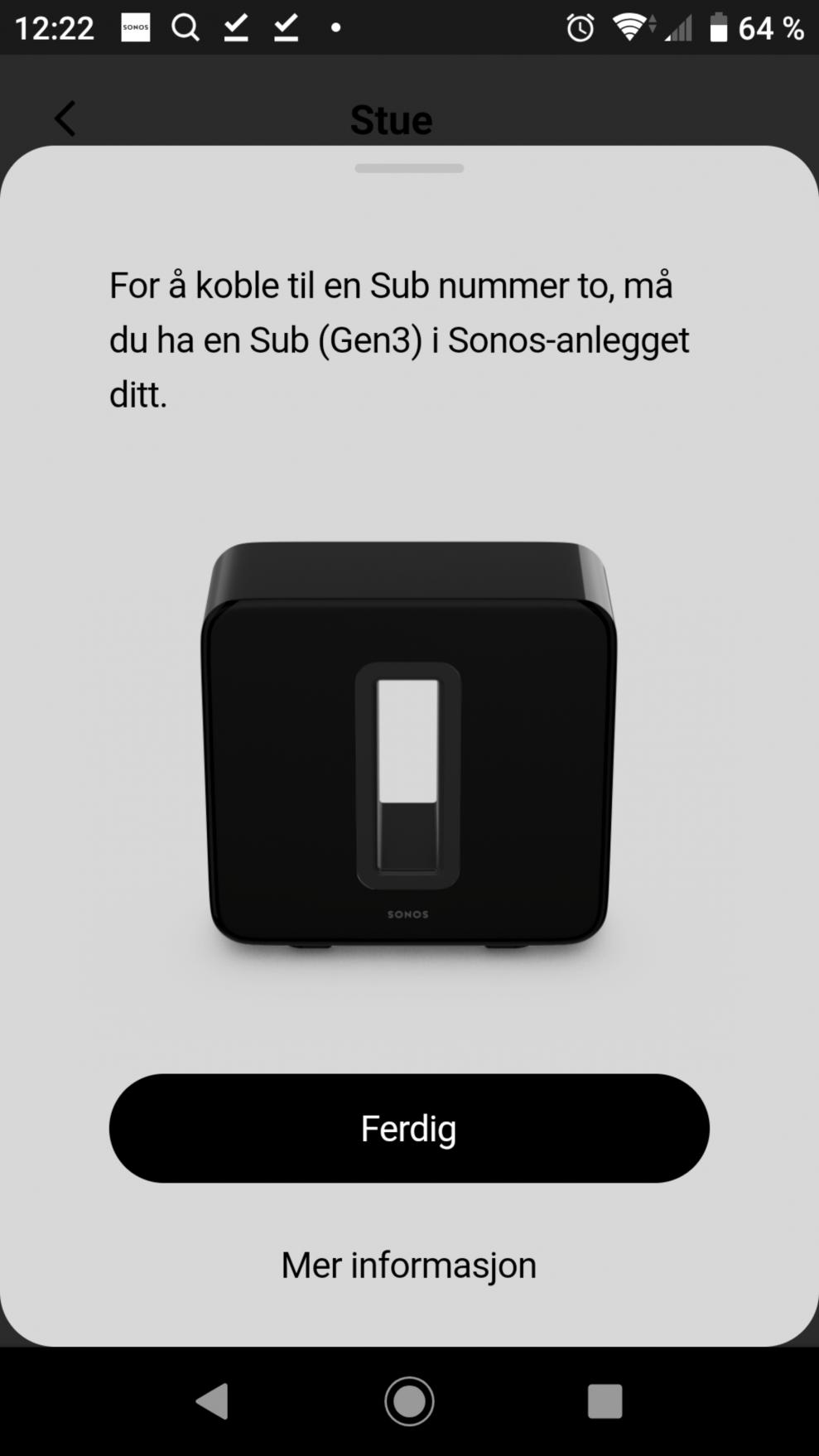Sonos Sub setup 5