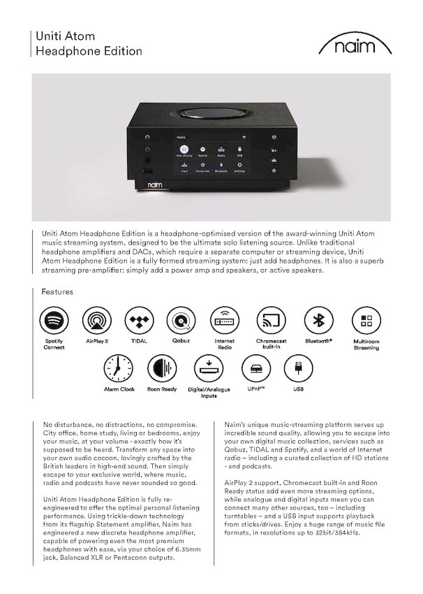 Naim Uniti Atom HE - specifications 1