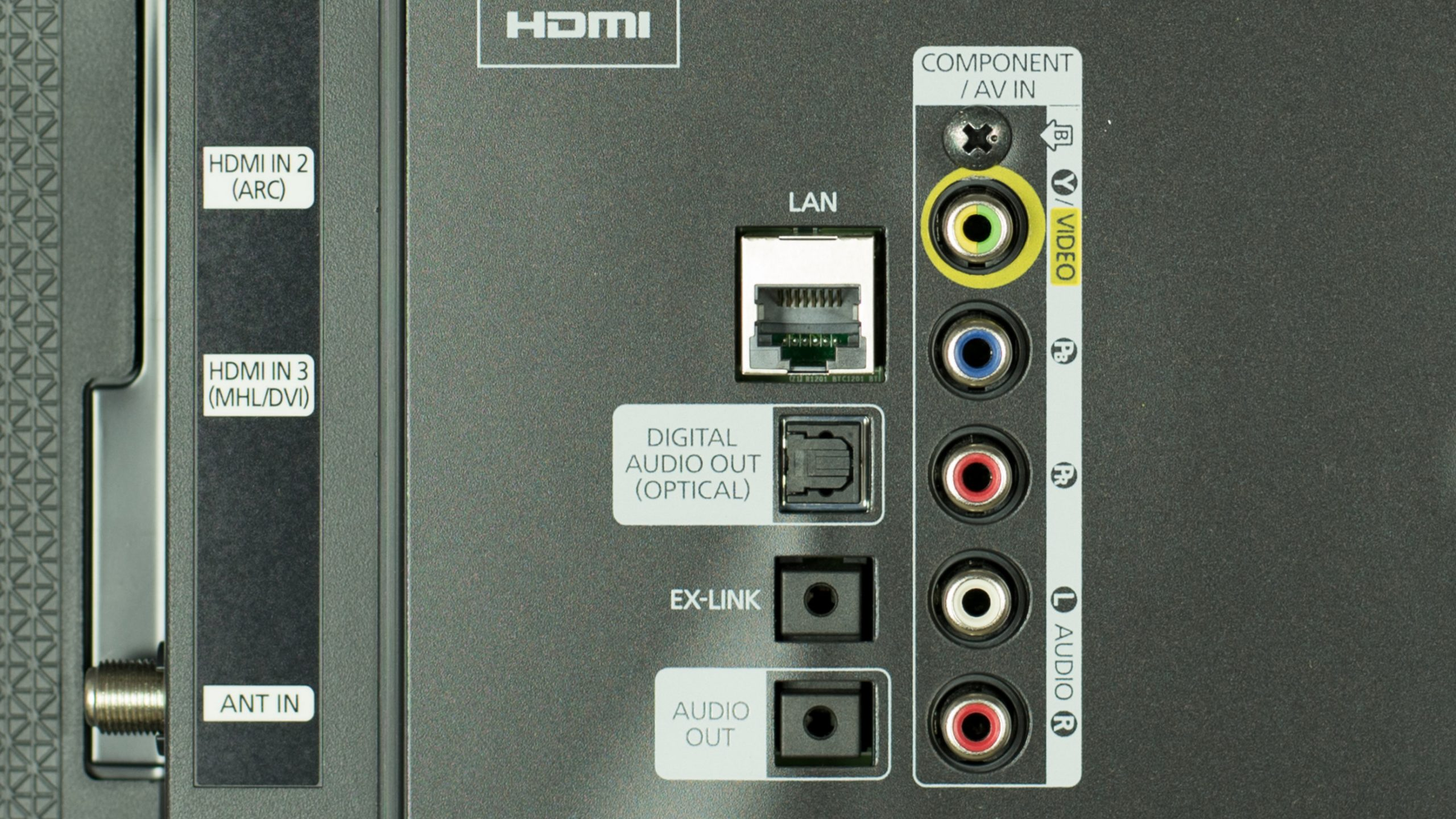 Smart TV ethernet rear panel
