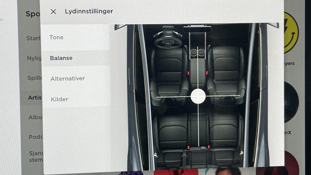 Tesla Model Y sound settings - balance