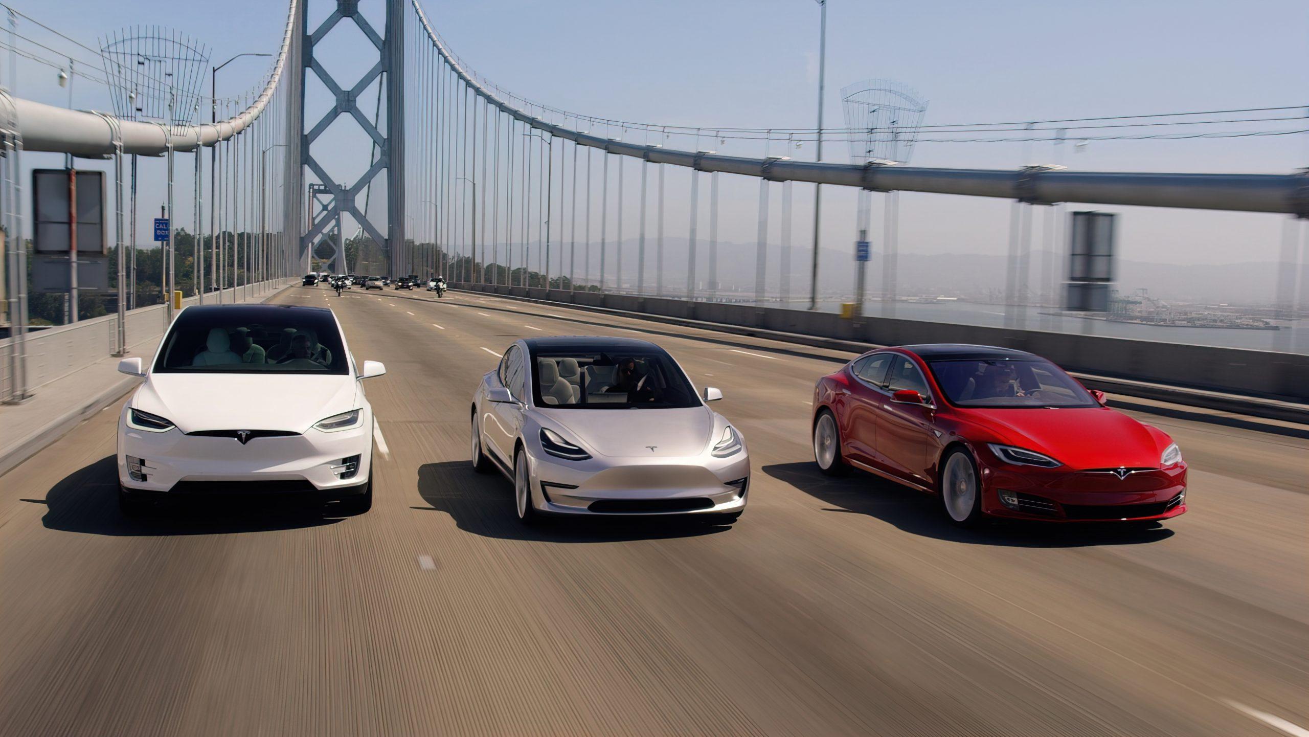 Tesla models driving